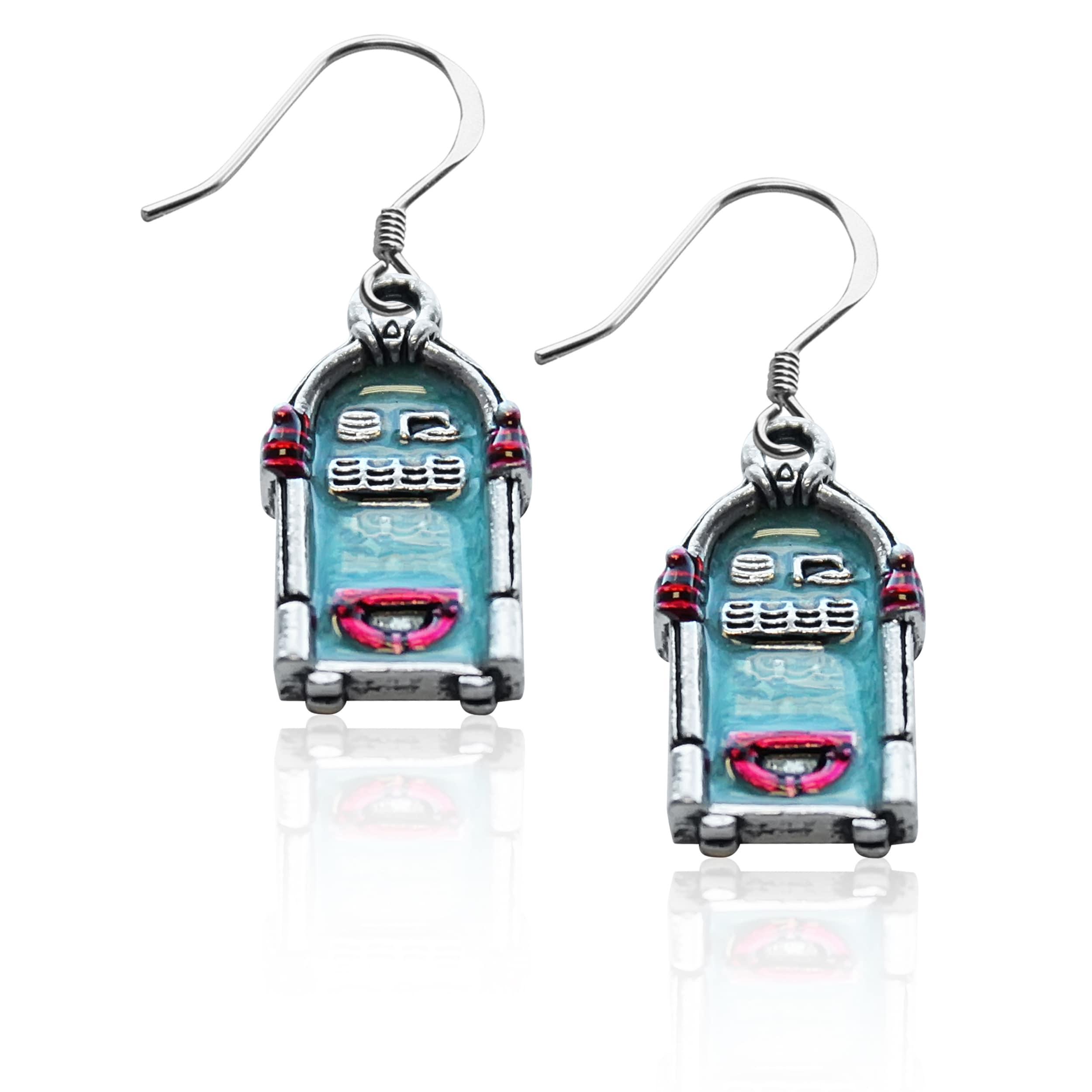 Whimsical Sterling Silver Jukebox Charm Earrings (Sterlin...