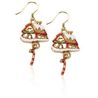 Gold over Silver Gingerbread House Charm Earrings