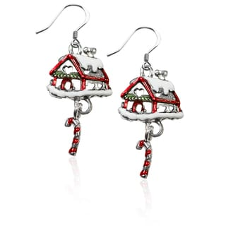 Sterling Silver Gingerbread House Charm Earrings