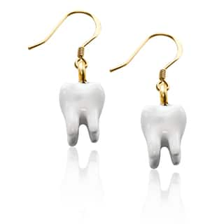 Gold over Silver Tooth Charm Earrings|https://ak1.ostkcdn.com/images/products/10353266/P17462042.jpg?impolicy=medium
