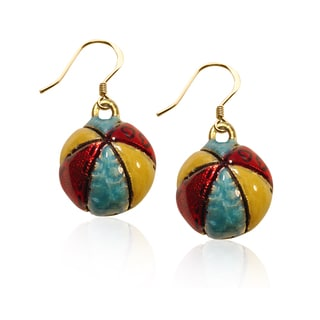 Gold over Silver Beach Ball Charm Earrings