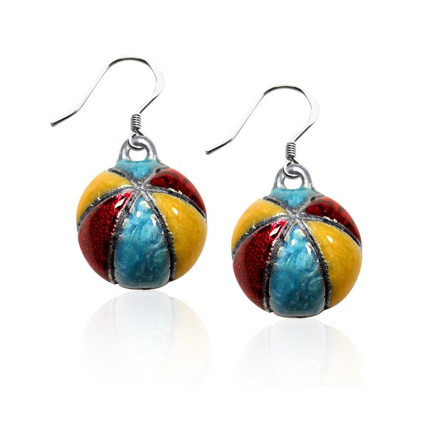 Sterling Silver Beach Ball Charm Earrings