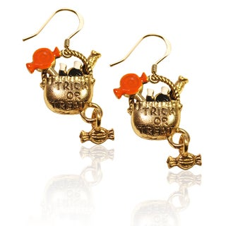 Gold over Silver Trick or Treat Charm Earrings