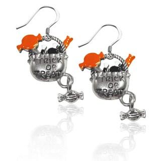 Sterling Silver Trick or Treat Charm Earrings