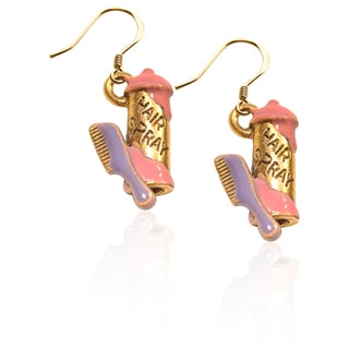 Gold over Silver Hair Spray and Comb Charm Earrings