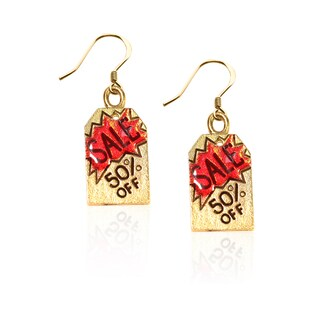 Gold over Silver 50-percent Off Sales Tag Charm Earrings