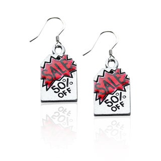 Sterling Silver 50-percent Off Sales Tag Charm Earrings