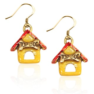 Gold over Silver Dog House Charm Earrings