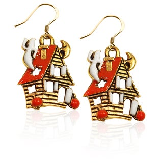 Gold over Silver Haunted House Charm Earrings