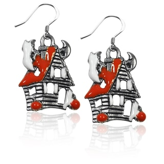 Sterling Silver Haunted House Charm Earrings