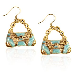 Gold over Silver Retro Purse Charm Earrings