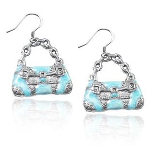 Sterling Silver Retro Purse Charm Earrings