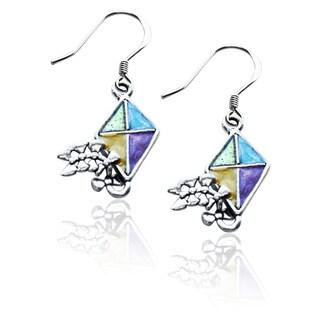 Sterling Silver Kite Charm Earrings