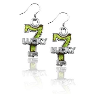 Sterling Silver Lucky 7 Charm Earrings