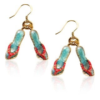 Gold over Silver Flip Flops Charm Earrings