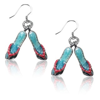 Sterling Silver Flip Flops Charm Earrings