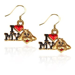 Gold over Silver I Love My Dog Charm Earrings