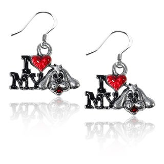 Sterling Silver I Love My Dog Charm Earrings