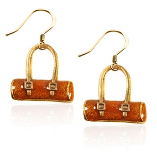 Gold over Silver Tube Purse Charm Earrings