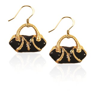 Gold over Silver Flap Purse Charm Earrings