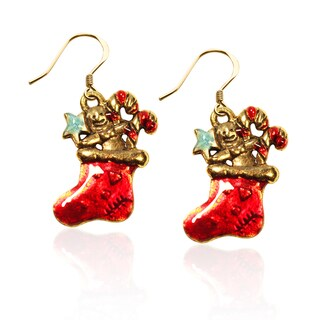 Gold over Silver Christmas Stocking Charm Earrings