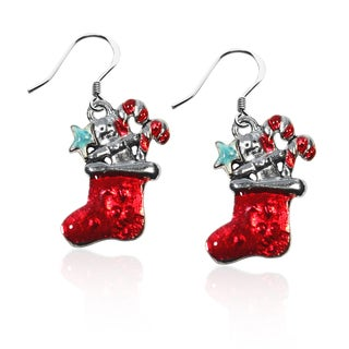 Sterling Silver Christmas Stocking Charm Earrings