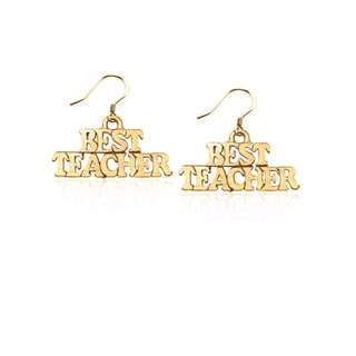 Gold over Silver Best Teacher Charm Earrings