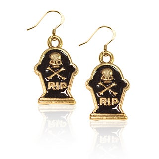Gold over Silver Tombstone with Skull Charm Earrings