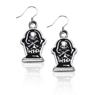 Sterling Silver Tombstone with Skull Charm Earrings