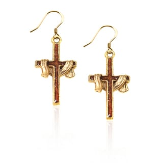 Gold over Silver Cross with Shroud Charm Earrings