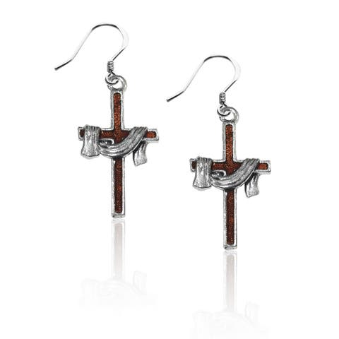 Whimsical Cross with Shroud Charm Earrings in Silver