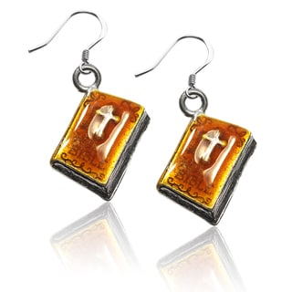 Sterling Silver Holy Bible Charm Earrings