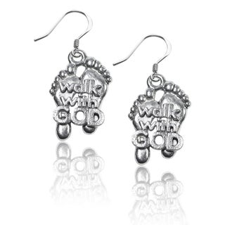 Sterling Silver Walk with God Feet Charm Earrings