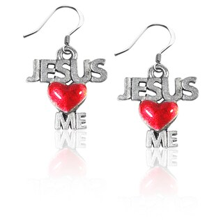 Sterling Silver Jesus Loves Me Charm Earrings