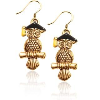 Goldplated Silver Owl Charm Dangling Earrings