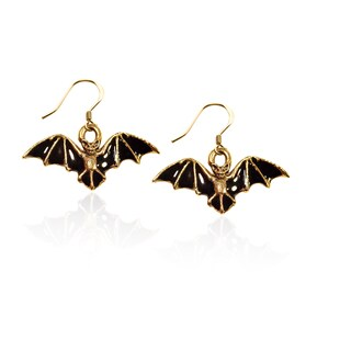 Gold over Silver Bat Charm Earrings