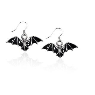 Sterling Silver Bat Charm Earrings