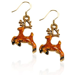 Gold over Silver Reindeer Charm Earrings