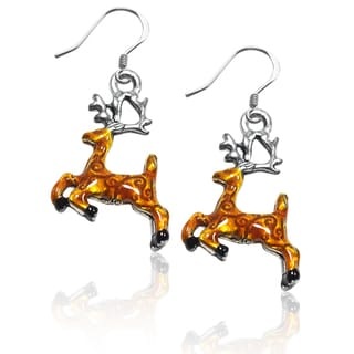 Sterling Silver Reindeer Charm Earrings