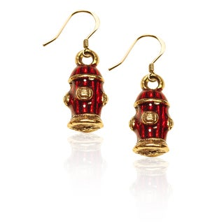 Gold over Silver Fire Hydrant Charm Earrings