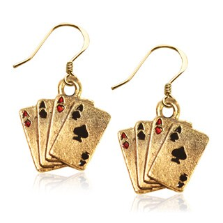 Gold over Silver Aces Charm Earrings