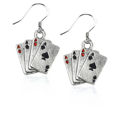 Sterling Silver Aces Charm Earrings