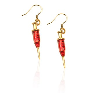 Gold over Silver Syringe Charm Earrings