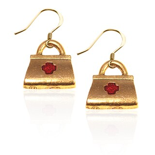 Gold over Silver Medical Bag Charm Earrings