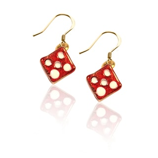 Gold over Silver Dice Charm Earrings