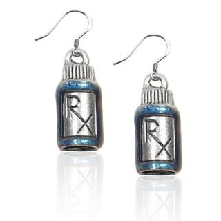 Sterling Silver RX Charm Earrings