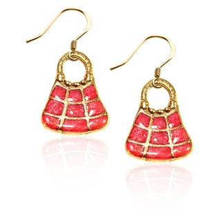 Gold over Silver Tic-Tac-Toe Purse Charm Earrings