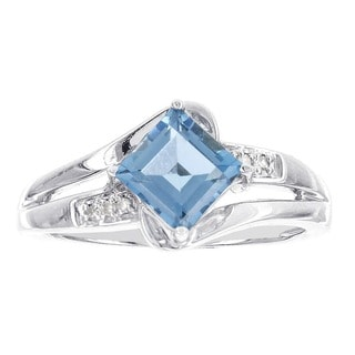 H Star 10k White Gold Blue Topaz Diamond Accent Ring