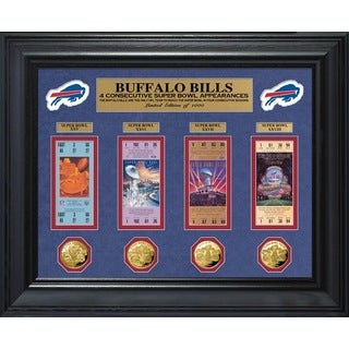 Buffalo Bills 4 Consecutive Super Bowl Appearances Deluxe Ticket and Game Coin Collection
