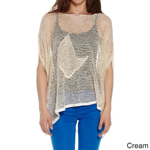 Juniors' Oversized Loose Knit with Metallic Sheen Pullover Sweater